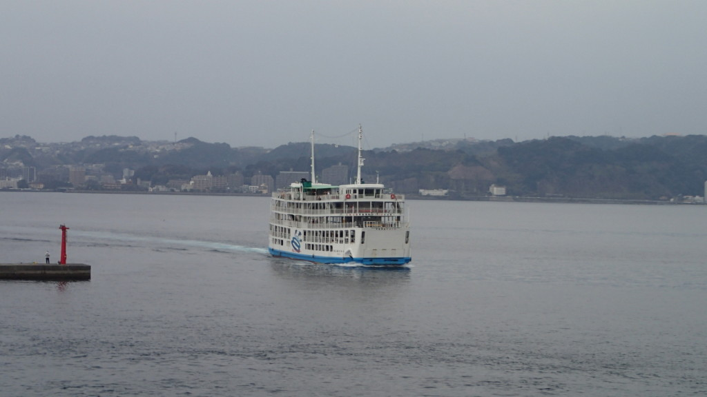 このフェリーは鹿児島市内から桜島へ来たフェリーです。